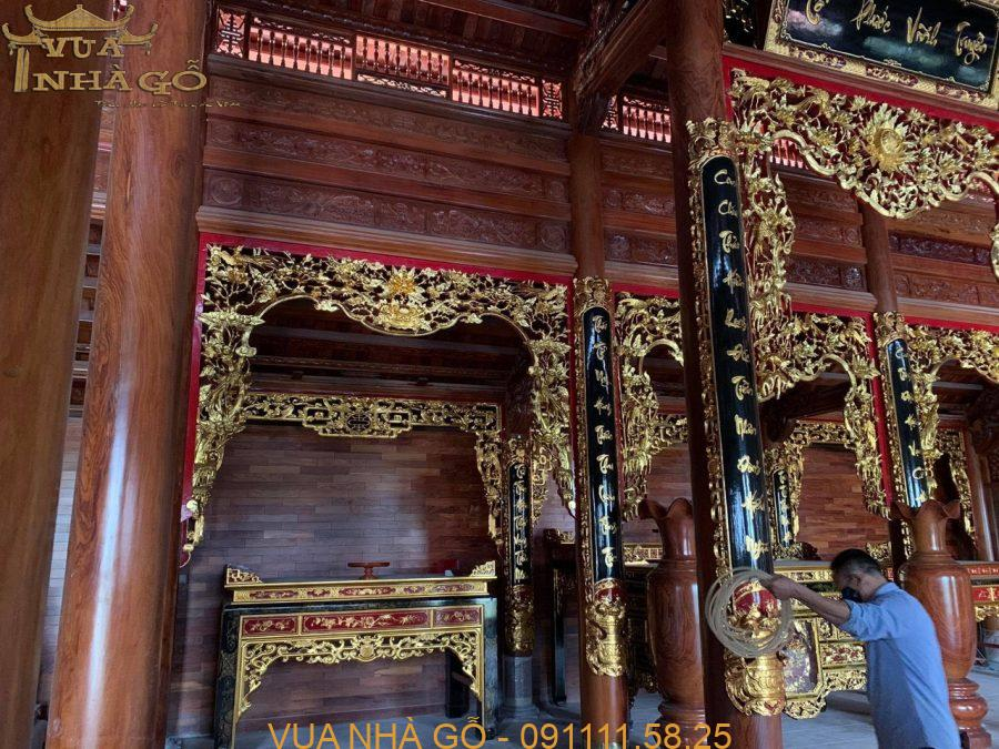nội thất nhà gỗ, nội thất nhà gỗ đẹp, nội thất nhà gỗ 3 gian, nội thất nhà gỗ cao cấp, lim nam phi, vua nhà gỗ