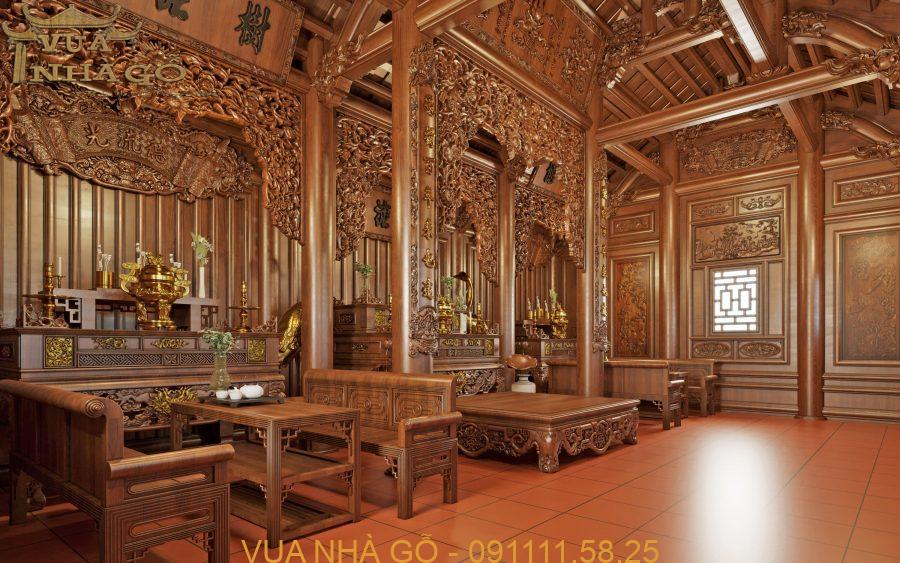 nội thát nhà gỗ, nội thất nhà gỗ đẹp, nội thất nhà gỗ 3 gian, nội thất nhà gỗ cao cấp, lim nam phi, vua nhà gỗ