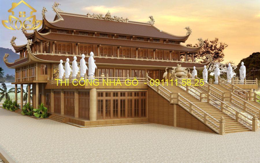nhà chùa gỗ đẹp